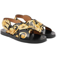 Versace Printed Leather Sandals Multi