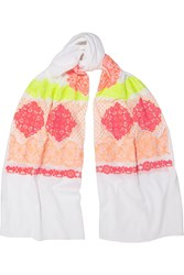 Rose And Rose St Remy Neon Embroidered Cotton Voile Scarf Pink