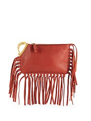 Valentino Metallic Fish Fringed Leather Clutch Red