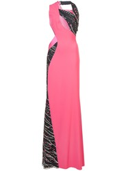 Rubin Singer Embellished Cut Out Gown Pink And Purple