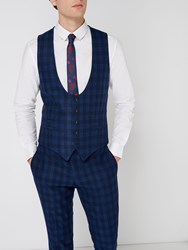 Label Lab Men's Turner Skinny Fit Large Check Suit Waistcoat Blue