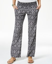 Roxy Juniors' Printed Flare Leg Soft Pants Black White Combo