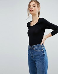 Asos T Shirt With Long Sleeve And Scoop Neck Black