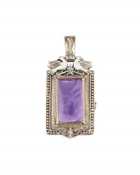 Konstantino Erato Rectangular Amethyst Doublet Locket Pendant Enhancer Purple