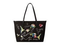 Love Moschino Embroidered Shoulder Bag Black Canvas