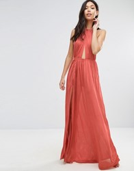 Asos Slinky Maxi Beach Dress With Plait Strap Tan