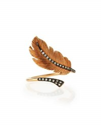 Diane Kordas Rose Gold Diamond Feather Ring