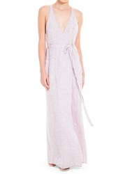 Leon Max Check Linen Long Wrap Dress