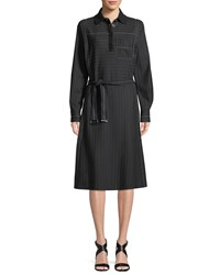 Piazza Sempione Long Sleeve Belted A Line Pinstripe Shirtdress W Knit Collar Black