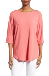 Eileen Fisher Women's Jersey Bateau Neck Tee Pink Grapefruit