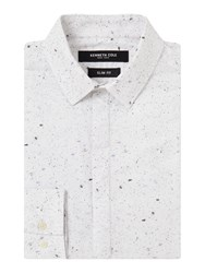 Kenneth Cole Men's Craft Paper Print Shirt White