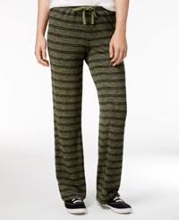 Hippie Rose Juniors' Striped Heathered Soft Pants Olive Branch
