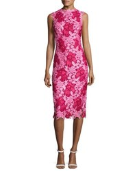 Monique Lhuillier Sleeveless Two Tone Lace Cocktail Dress Magenta Rose Pink
