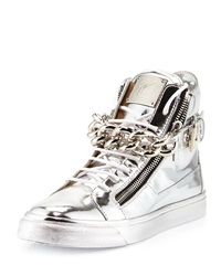 Men's Metallic Chain And Zipper High Top Sneaker Silver Giuseppe Zanotti