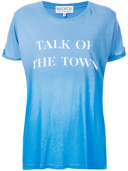 Wildfox Couture Talk Of The Town T Shirt Women Cotton M Blue
