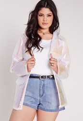 Missguided Plus Size Holographic Rain Coat White White