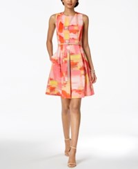 Ellen Tracy Petite Belted Fit And Flare Dress Coral Mult