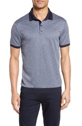 Vince Camuto Men's Contrast Trim Knit Polo Navy Heather