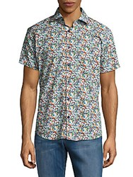 Jared Lang Floral Cotton Button Down Shirt White