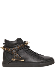 D S De Metal Spikes Strap Leather Sneakers Black