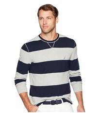 Nautica Long Sleeve Rugby Stripe Sweater Grey Heather Clothing Gray