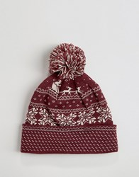 7X Christmas Fairisle Beanie Hat Red