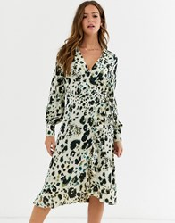 Influence Wrap Front Satin Midi Dress In Abstract Leopard Print Multi
