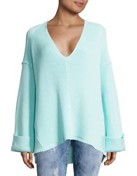 Free People Le Brea Ribbed V Neck Sweater Green