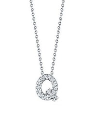 Roberto Coin Tiny Treasures Diamond And 18K White Gold Love Letter Pendant Necklace Q