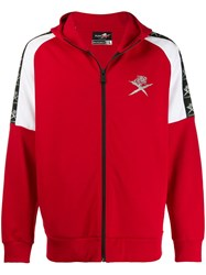 Plein Sport Zipped Hooded Jacket Red