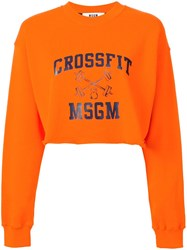 Msgm Cropped Sweatshirt Yellow Orange