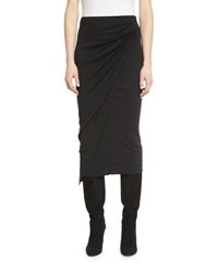 Urban Zen Draped Jersey Midi Pencil Skirt Black