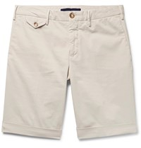 Incotex Slim Fit Stretch Cotton Gabardine Shorts Neutrals
