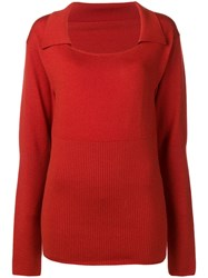 Jacquemus Long Sleeve Fitted Sweater Red