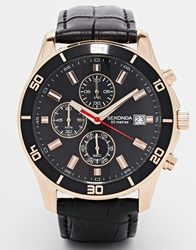 Sekonda Chronograph Mock Croc Leather Strap Watch Black