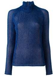Carven Turtleneck Ribbed Jumper Blue
