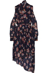 W118 By Walter Baker Audrina Cutout Floral Print Georgette Dress Midnight Blue