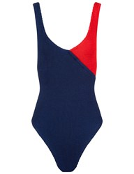 Pandora Sykes X Hunza G Navy And Red Cross Body Kerry Swimsuit Blue