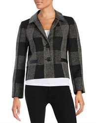 Nipon Boutique Leatherette Accented Jacket Black Grey