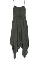 Haute Hippie Brownstone Lace Up Ruffled Silk Chiffon Midi Dress Anthracite