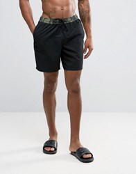 Asos Swim Shorts With Camo Waistband In Mid Length Black