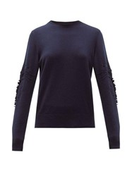 Barrie Pointelle Sleeve Cashmere Sweater Navy