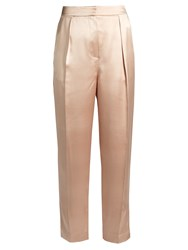 Roksanda Ilincic Surikov Pleated Front Slim Leg Satin Trousers Light Pink