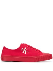 Calvin Klein Jeans Low Top Canvas Sneakers Red