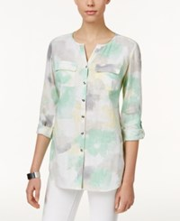 Jm Collection Watercolor Print Linen Shirt Only At Macy's Sea Glass Green