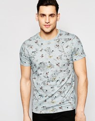 Ted Baker T Shirt With All Over Dragonfly Print 19 Light Blue