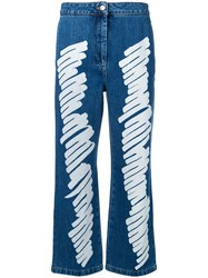 Moschino Brushstroke Effect Cropped Jeans Blue
