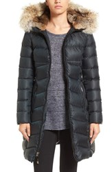 Dawn Levy Women's Daphne Long Quilted Down Coat With Genuine Fur Trim New Green