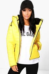 Boohoo Quilted Padded Jacket Mustard