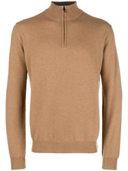 Corneliani Front Zip Fitted Sweater Nude And Neutrals